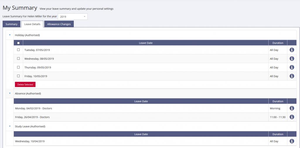 Employee Summary screen for sickness in LeavePlanner