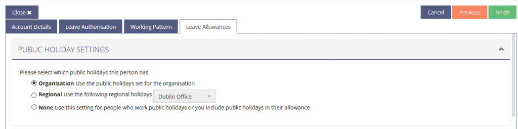 Picture of how to Set the Public Holidays for a new user.