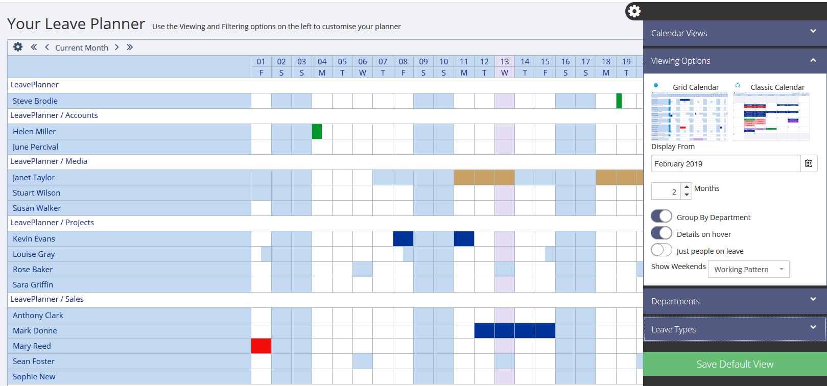 Viewing Options on the LeavePlanner Calendar in Grid View