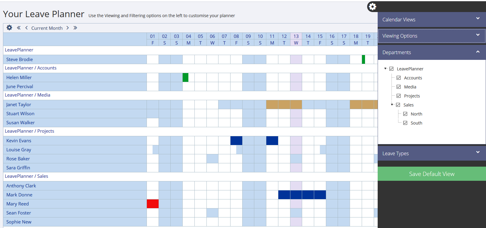 Department selector on the LeavePlanner Calendar in Grid View