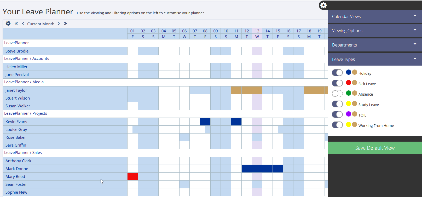 Absence leave types on the LeavePlanner Calendar in Grid View
