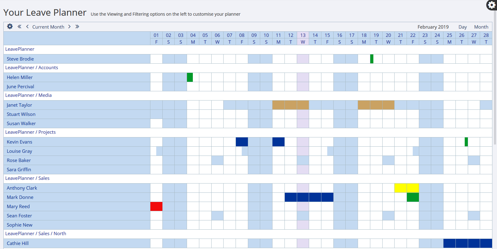 Grid calendar view on the LeavePlanner Absence system