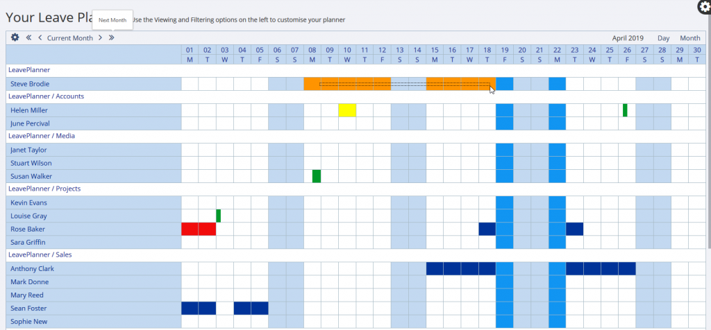 Requesting leave from the calendar view on the LeavePlanner Absence system