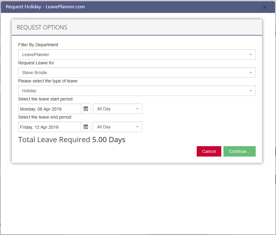 Requesting leave from the calendar view on the LeavePlanner Absence system step 2
