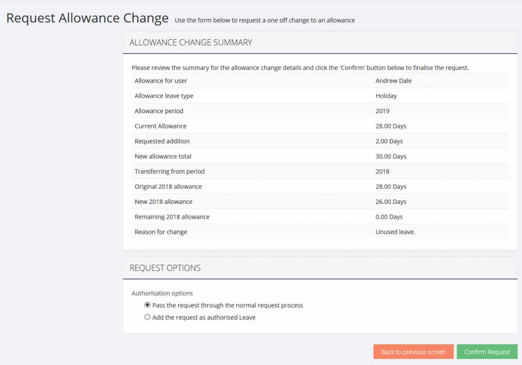 Image of request allowance change process