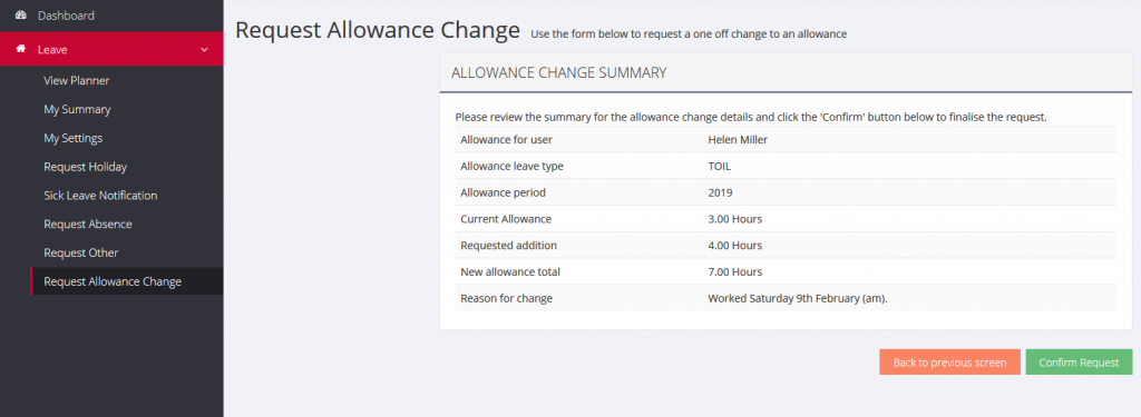 Requesting an allowance change confirmation