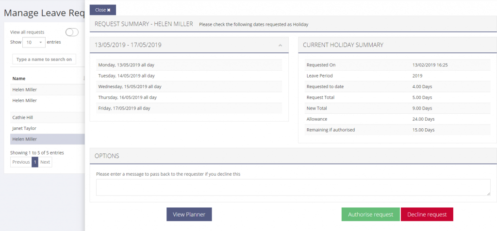 View and manage a single leave request and allowance request