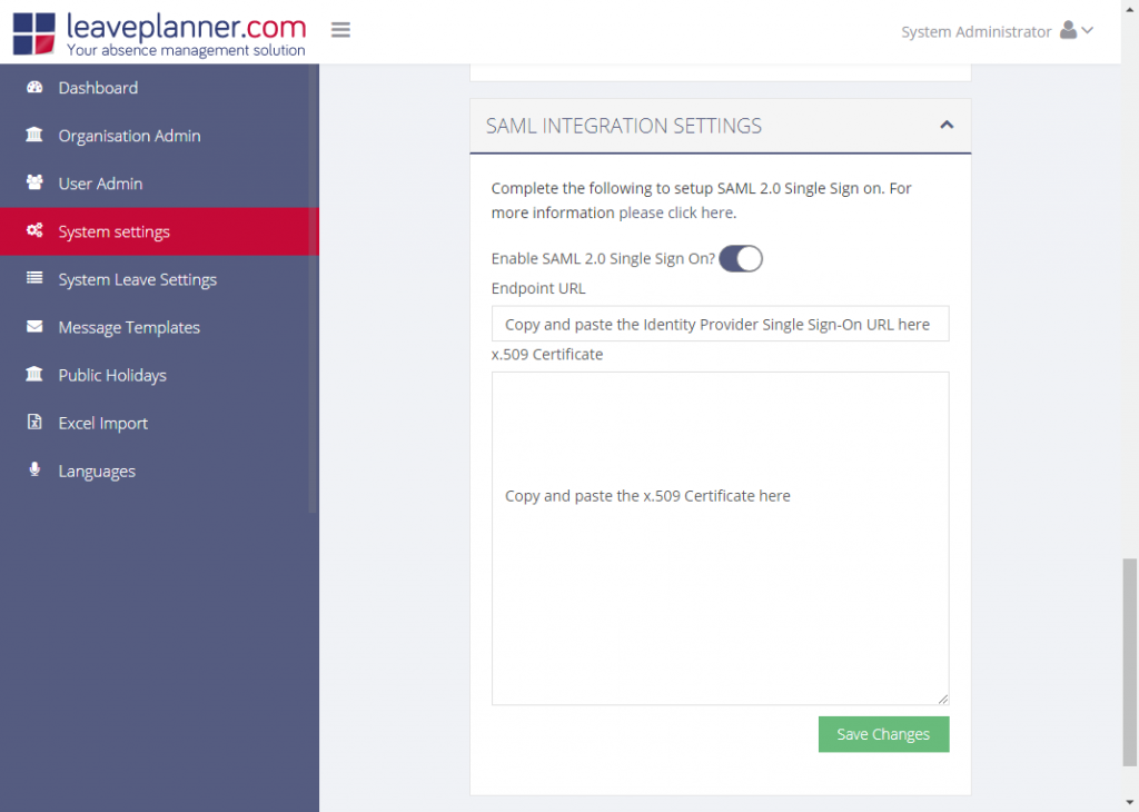SAML Integration for leaveplanner absence management